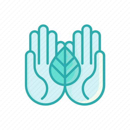alternative, hands, herbal, homeopathy, leaf, line, thin icon