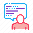 frame, man, quote, talking, text icon