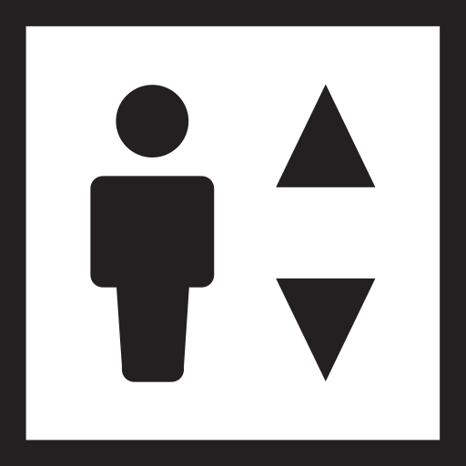 building, climb, descend, elevator, raising icon