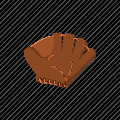 baseball, cartoon, equipment, glove, lacing, leather, protect icon