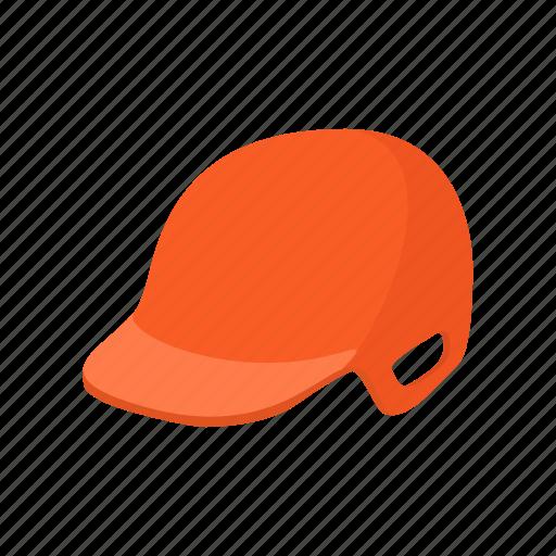 baseball, cartoon, equipment, fitness, helmet, orange, sport icon