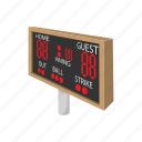 baseball, board, cartoon, score, scoreboard, sign, stadium icon
