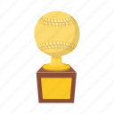 ball, baseball, cartoon, gold, softball, success, trophy icon