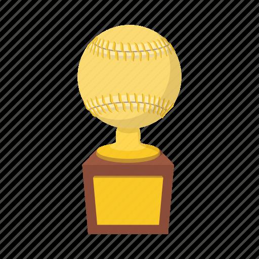 ball, baseball, cartoon, gold, softball, success, trophy icon