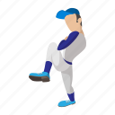 ball, baseball, cartoon, field, pitch, pitcher, player icon