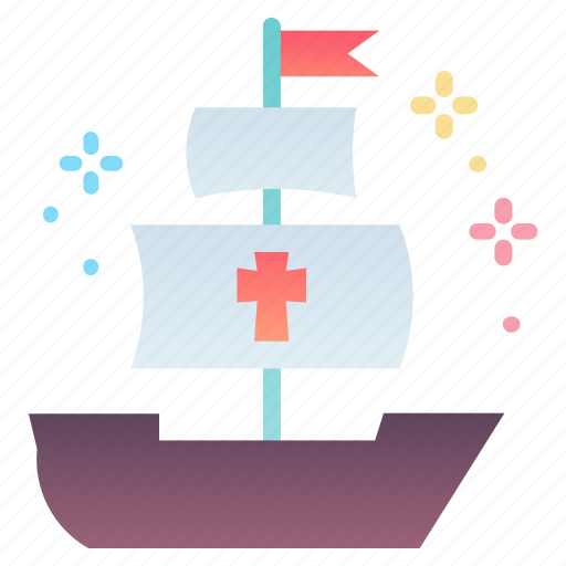 columbus, day, sail, ship icon