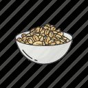 bowl of nut, food, ground nut, nuts, peanuts, snack icon