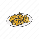 american snack, chips, dessert, food, nachos, snack icon