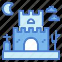 amusement, castle, creepy, ghost, horror, park, scary icon