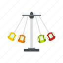 carousel, chain, park, sky, speed, swing, swinging icon