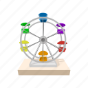 amusement, cartoon, ferris, fun, motion, park, spin icon