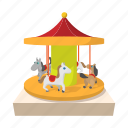amusement, carnival, carousel, cartoon, circus, park, round icon