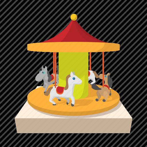 amusement, carnival, carousel, cartoon, circus, park, round icon