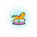 animal, carousel, cartoon, comics, fair, horse, ride icon