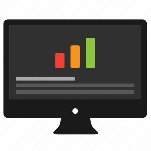 analytics, bar graph, chart, computer, data, desktop, diagram, graph, monitor, report, statistics icon