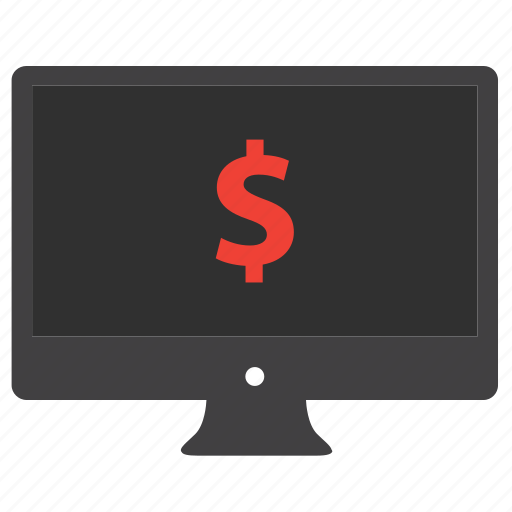 business, computer, desktop, dollar, finance, financial, monitor icon