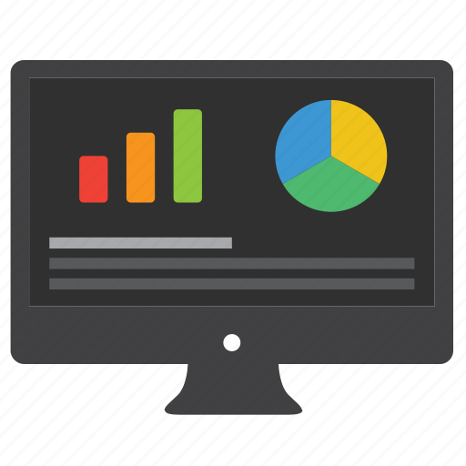 analytics, bar graph, business, chart, computer, data, desktop, diagram, ecommerce, finance, financial, monitor, pie charts, report, statistics icon