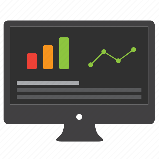 analytics, bar graph, business, chart, computer, data, desktop, diagram, finance, financial, money, monitor, report, statistics icon