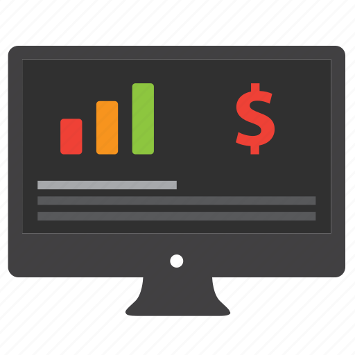 analytics, bar graph, business, chart, computer, currency, data, desktop, diagram, dollar, ecommerce, finance, financial, money, monitor, payment, report, sale, shopping, statistics icon