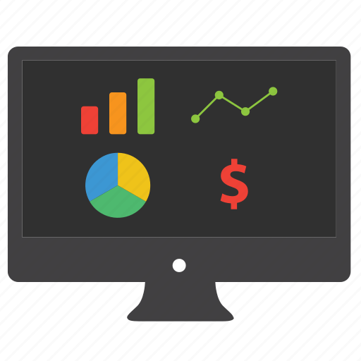 analytics, bar, bar graph, business, computer, data, desktop, diagram, dollar, finance, monitor, pie chart, report, statistics icon