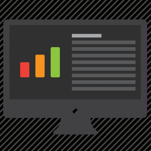 analytics, bar, bar graph, chart, computer, data, desktop, diagram, graph, monitor, report, statistics icon