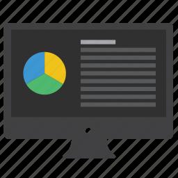 analytics, chart, charts, computer, data, desktop, diagram, monitor, pie, pie chart, report, statistics icon