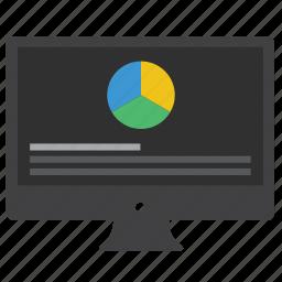 analytics, chart, charts, computer, data, desktop, diagram, monitor, pie chart, report, statistics icon