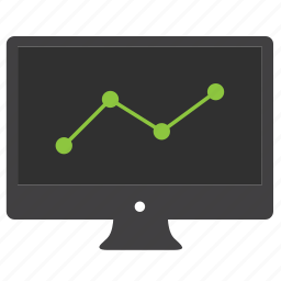 analytics, chart, computer, data, desktop, diagram, graph, monitor, report, statistics icon