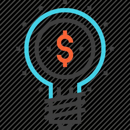 bulb, business, idea, light, marketing, money, solution icon