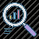 analytics, chart, data, diagram, glass, information, magnifying icon