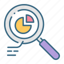 analytics, business, cycle, glass, graph, magnifying, pie icon