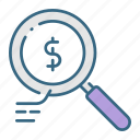 analysis, analyze, business, data, glass, magnifying, money icon