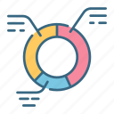 analytics, chart, cycle, graph, growth, market, pie icon