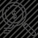 analysis, analyze, business, data, glass, magnifying, money icon