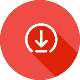 arrow, down, download, elliepse, guardar, install, receive, save icon