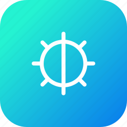 adjust, brightness, control, half, interface, light icon