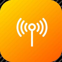 antenna, electronics, radiowaves, signal, technology, wifi icon
