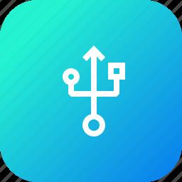drive, flash, interface, port, sign, storage, usb icon