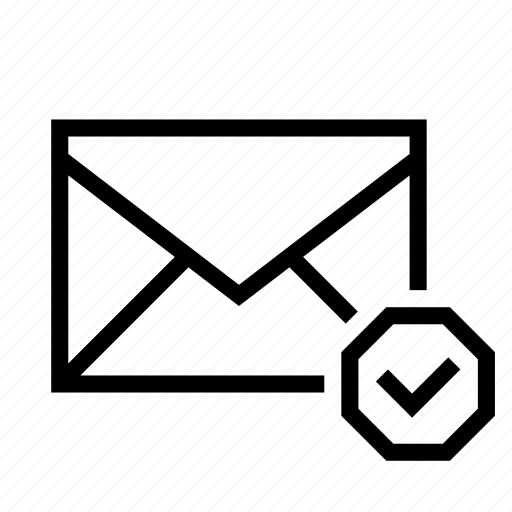 checkmark, done, email, envelope, mail icon