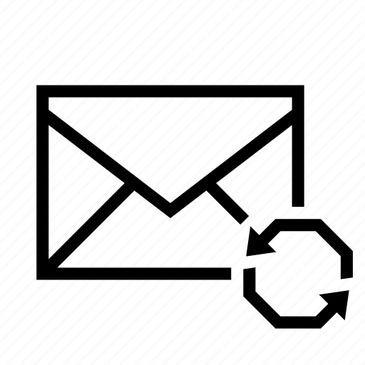 arrow, email, envelope, mail, sync icon