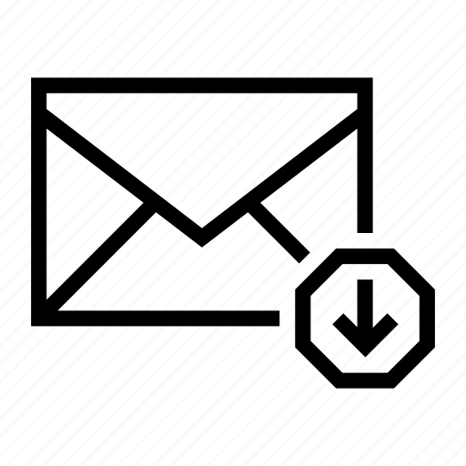 arrow, download, email, envelope, mail icon