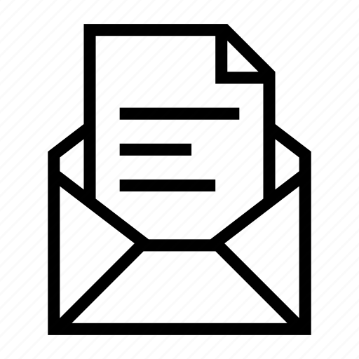 attachment, document, email, envelope, file, send, text icon