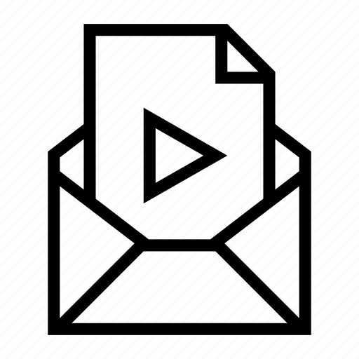 attachment, document, email, envelope, movie, send, video file icon