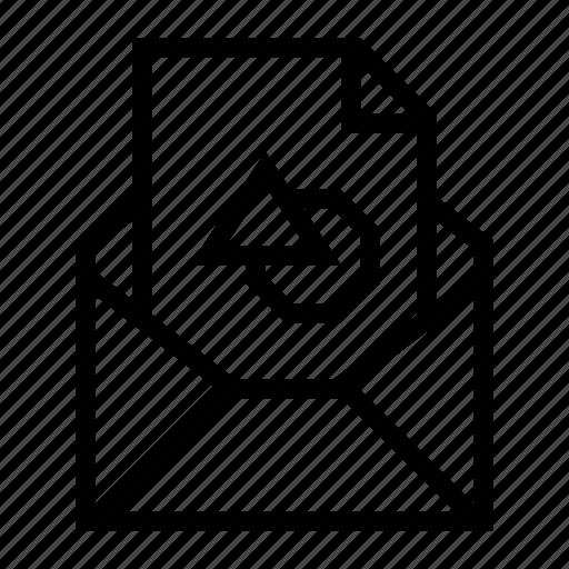 attachment, design file, draw, email, envelope, send, shape icon