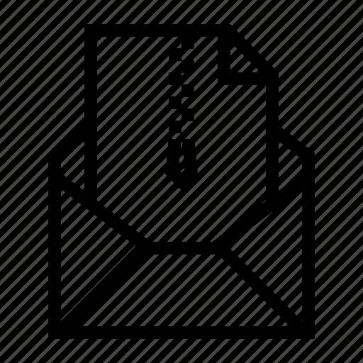 attachment, compress, document, email, envelope, send, zip file icon