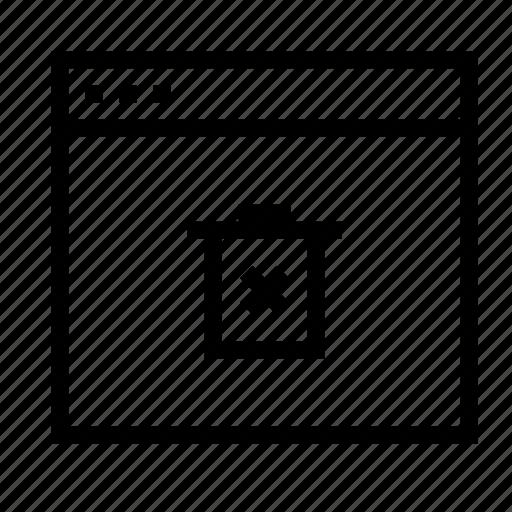 application, delete, interface, remove, trash, window icon