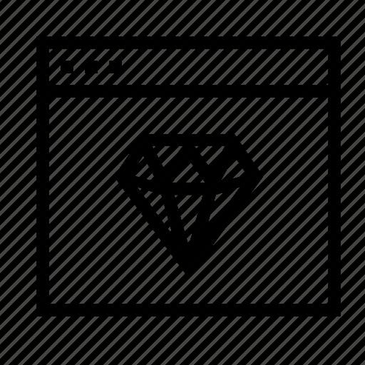 application, diamond, interface, sketch, window icon