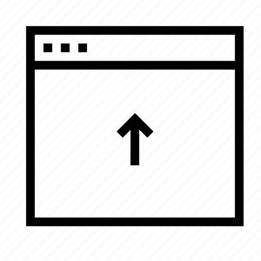 application, arrow, interface, upload, window icon