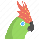 bird, crown face, cute parrot, green fur, green parrot icon