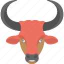 angry bull, bull face, face of bull, large horns, red bull icon